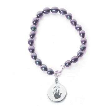 Pearl Bracelet with Baby Hand or Foot Print Single Print Charm - Unique Baby Keepsake